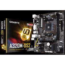 М/плата Gigabyte A320 GA-A320M-DS2, mATX, AMD A320, 2xDDR4-2667, PCI-E3.0x16/2xPCI-Ex1, 4xSATA3